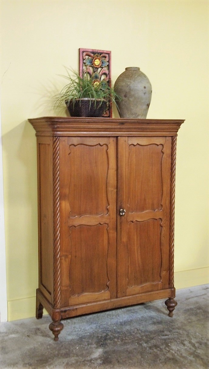 Old Teak Cabinet from Java with Spiral Posts