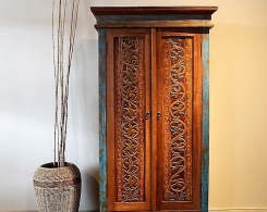 Distressed Reclaimed Teak Carved Cabinet