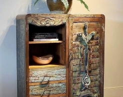 Painted Mid-Century Modern Cabinet Bali Style