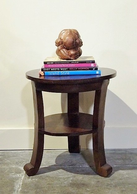 Round Curved Leg Teak Side Table