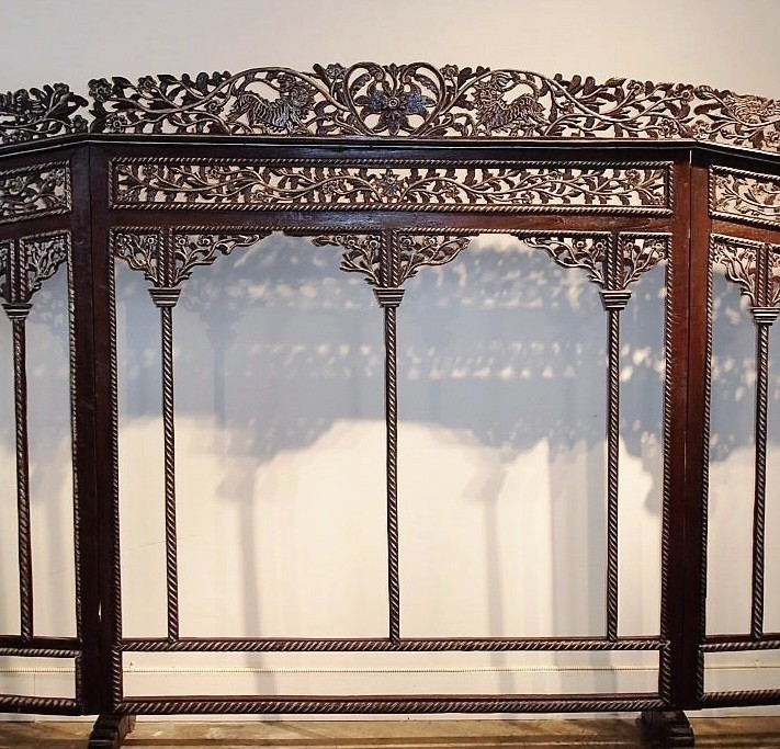 Intricately Carved Antique Screen from Java