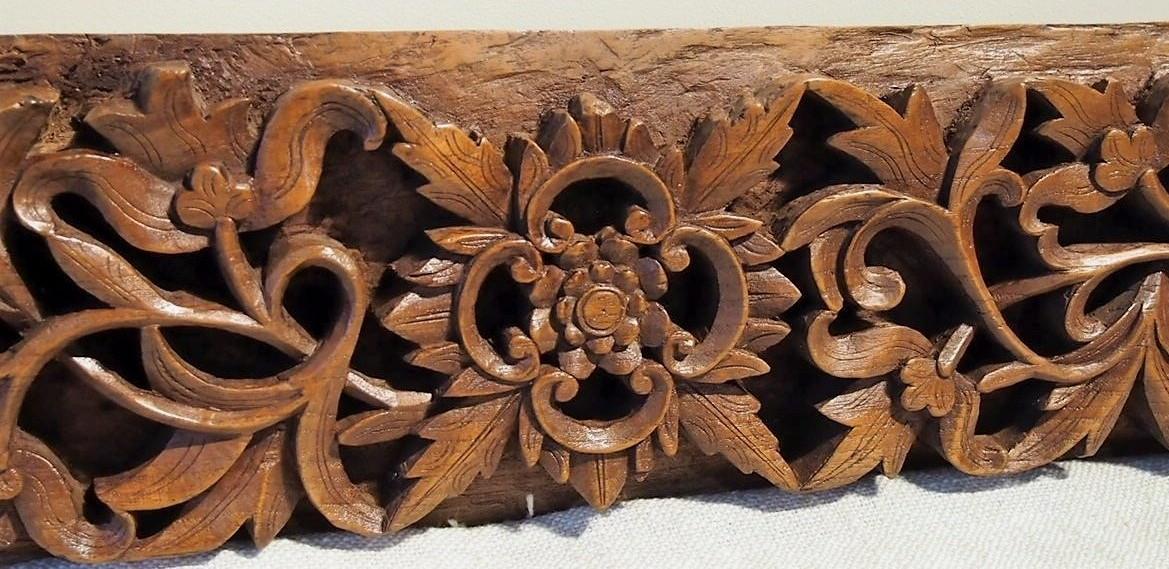 Intricately Carved Old Teak Panel 195