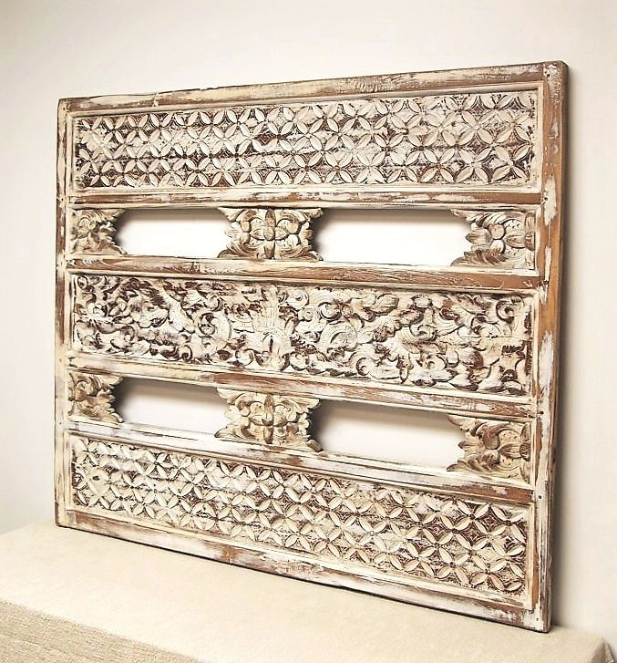 Old Carved Painted Wood Panel