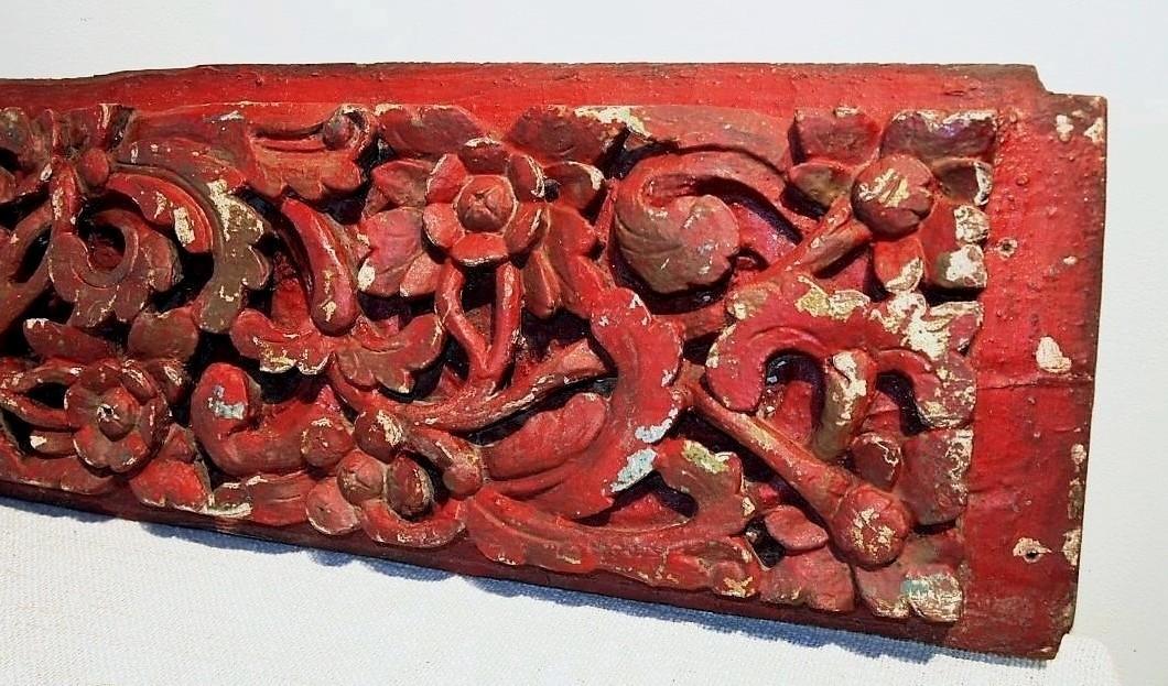 Old Carved Red Teak Architectural Panel 134