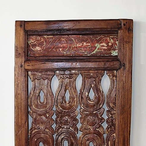 Old Carved Teak Architectural Panel 186