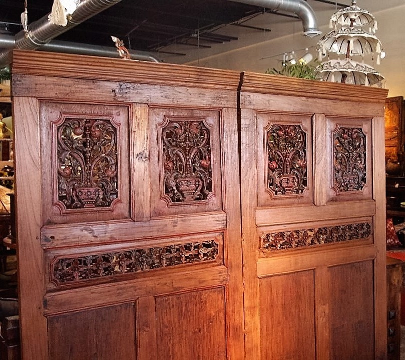 Old Carved Teak Architectural Panels from Java