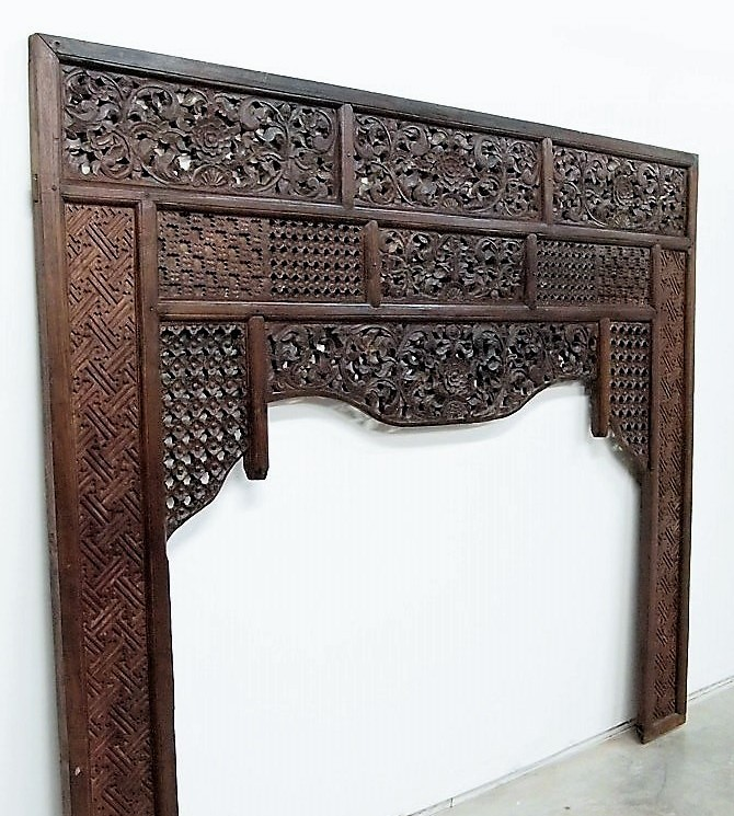 Old Carved Teak Bed Panel for Headboard