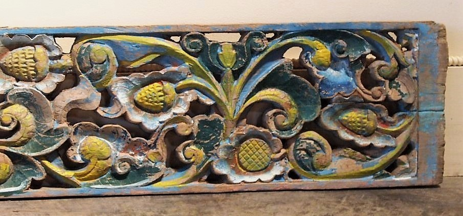 Old Carved Teak Panel with Lotus 163