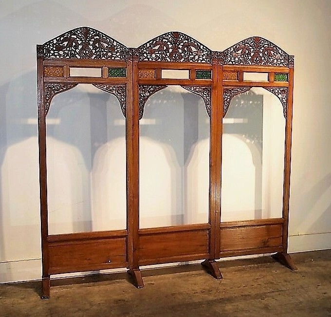 Old Carved Teak Screen Headboard with Glass