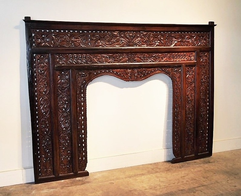 Reclaimed Teak Carved Panel Headboard
