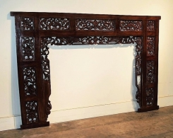 Hand Carved Indonesian Teak Panel Headboard