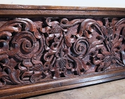 Large Old Carved Architectural Panel with Frame