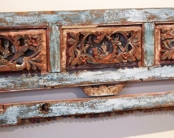 Old Carved Teak Bed Panel Headboardfrom Madura