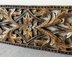 Old Gold Painted Carved Teak Panel 129