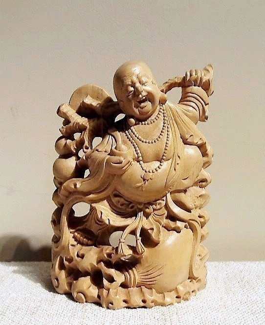 Hand Carved Happy Buddha Wood Statue from Bali