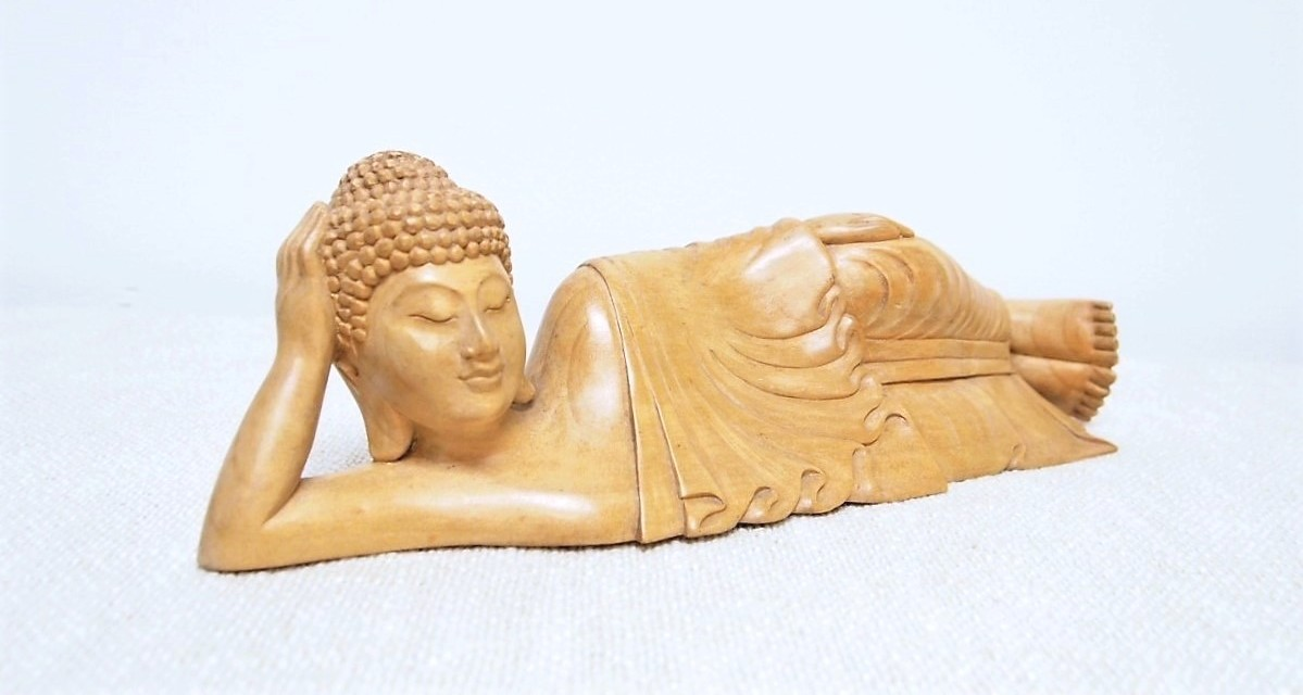 Hand Carved Reclining Buddha Wood Statue