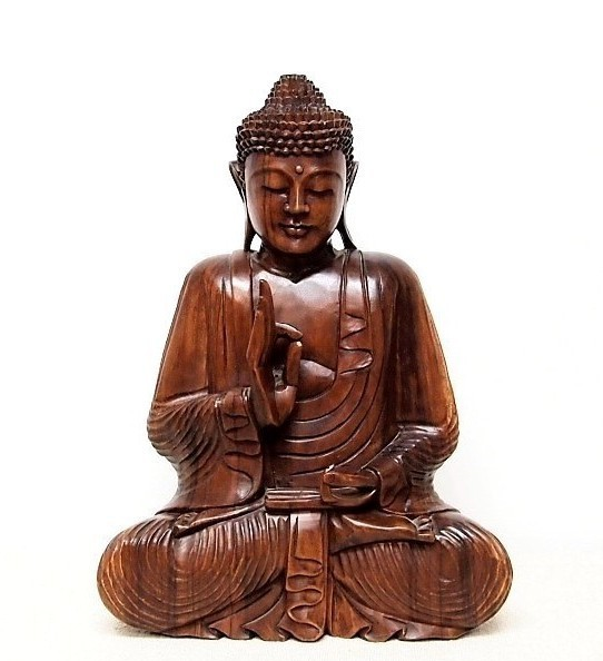 Hand Carved Sitting Buddha Bali Wood Carving Statue