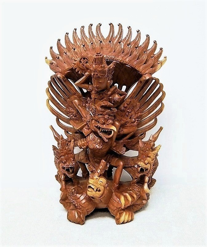 Hand Carved Vishnu Riding Garuda Statue from Bali