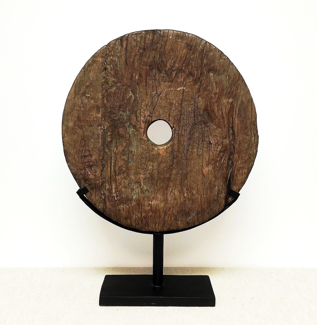 Old Teak Wheel Organic Art Sculpture