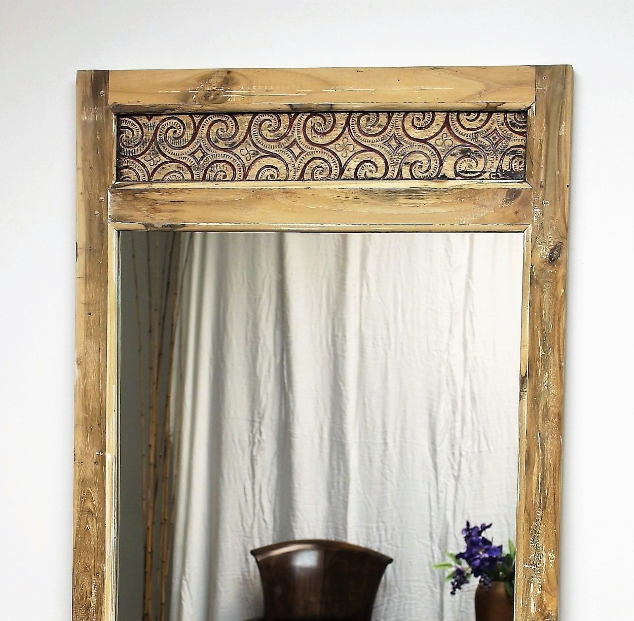 Reclaimed Wood Carved Panel Mirror