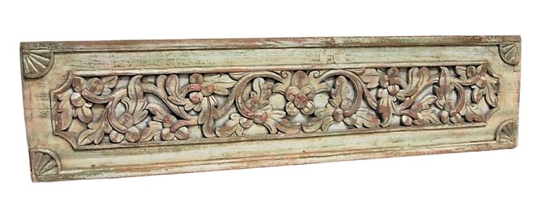 Vintage Carved Floral Teak Panel