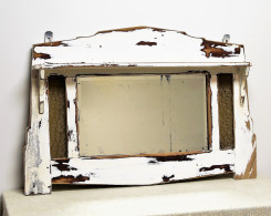 Distressed Whitewashed Vintage Mirror