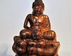 Meditating Buddha on Clouds Bali Wood Carving Statue