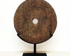 Old Teak Wheel Organic Art Sculpture