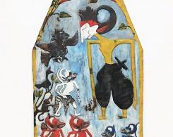 Vintage Painted Wayang Kris Panel