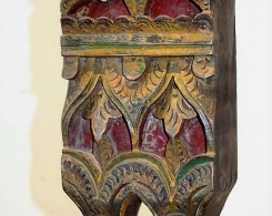 Old Carved Teak Panel in Metal Stand 4