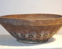 Old Painted Teak Bowl
