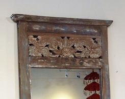 Reclaimed Teak Carved Bali Mirror Distressed Finish