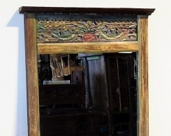 Reclaimed Teak Old Carved Panel Mirror