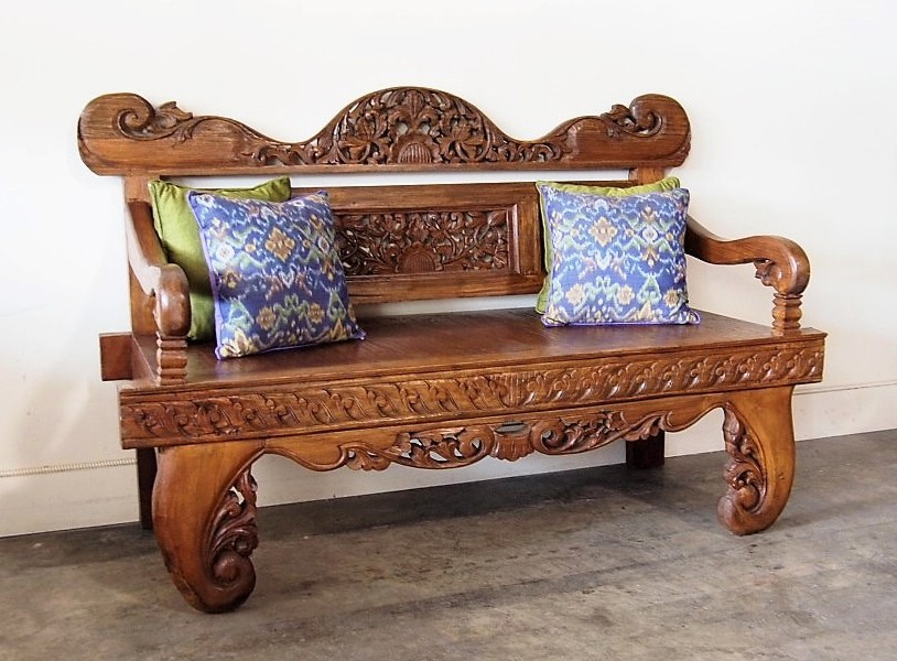 Hand Carved Bali Bench Reclaimed Teak