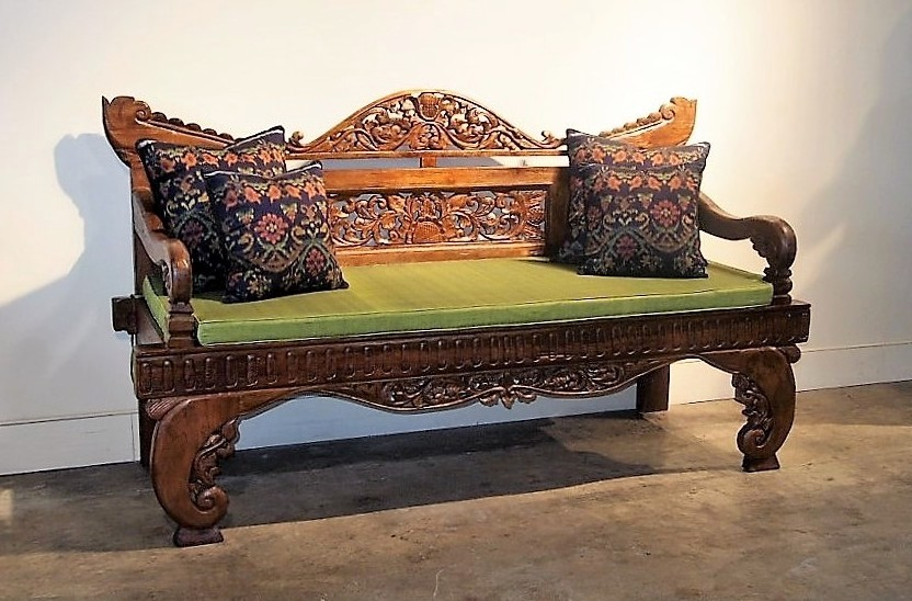 Intricately Carved Indonesian Bench Reclaimed Teak