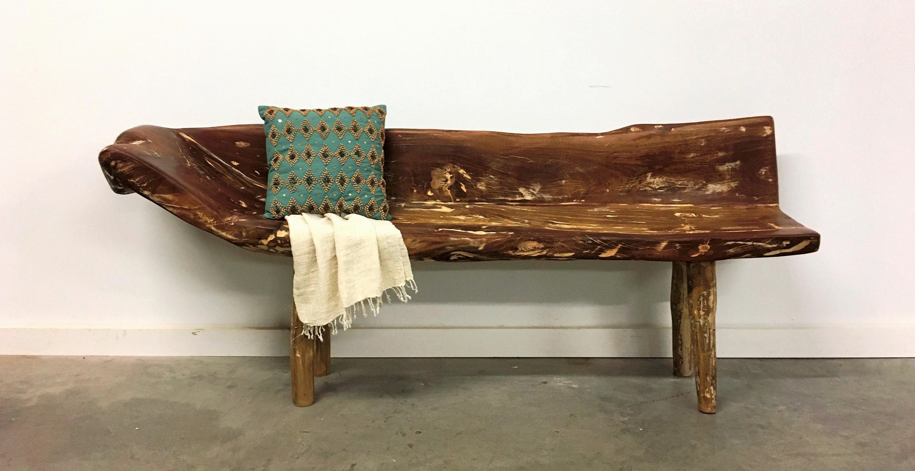 Modern Organic Vintage Wood Bench