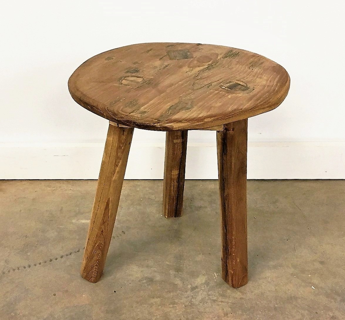 Round Reclaimed Wood Rustic Stool