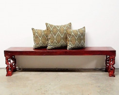 Red Chinoiserie Carved Bench