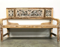 Carved Whitewashed Reclaimed Wood Bench