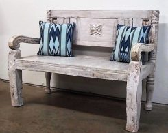 Painted Carved Reclaimed Wood Bench