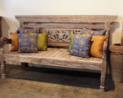 Reclaimed Teak Carved Bench / Daybed with Whitewash Finish