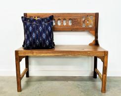 Vintage Panel Reclaimed Wood Carved Bench