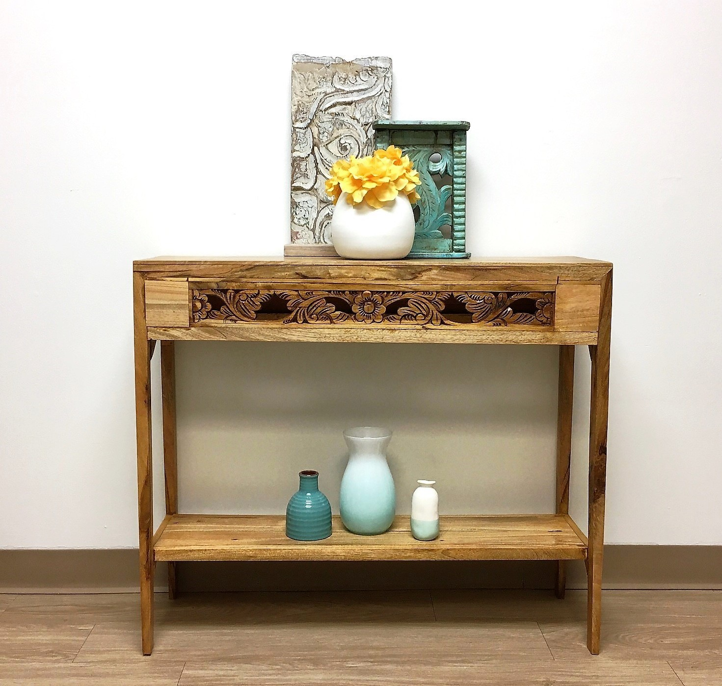 Artisan Console Table with Old Carved Panels