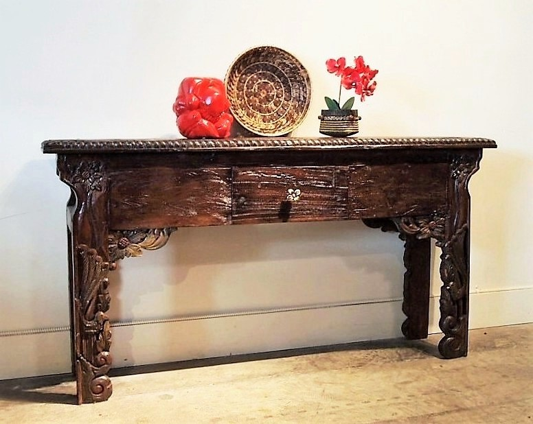 Bali Carved Leg Console Table