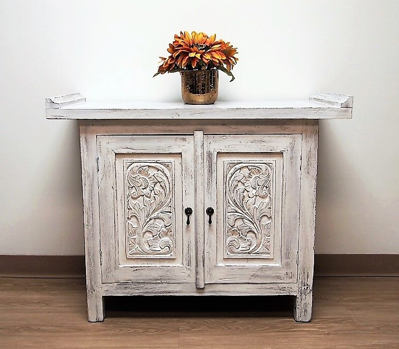 Reclaimed Teak Whitewashed Carved Console Cabinet