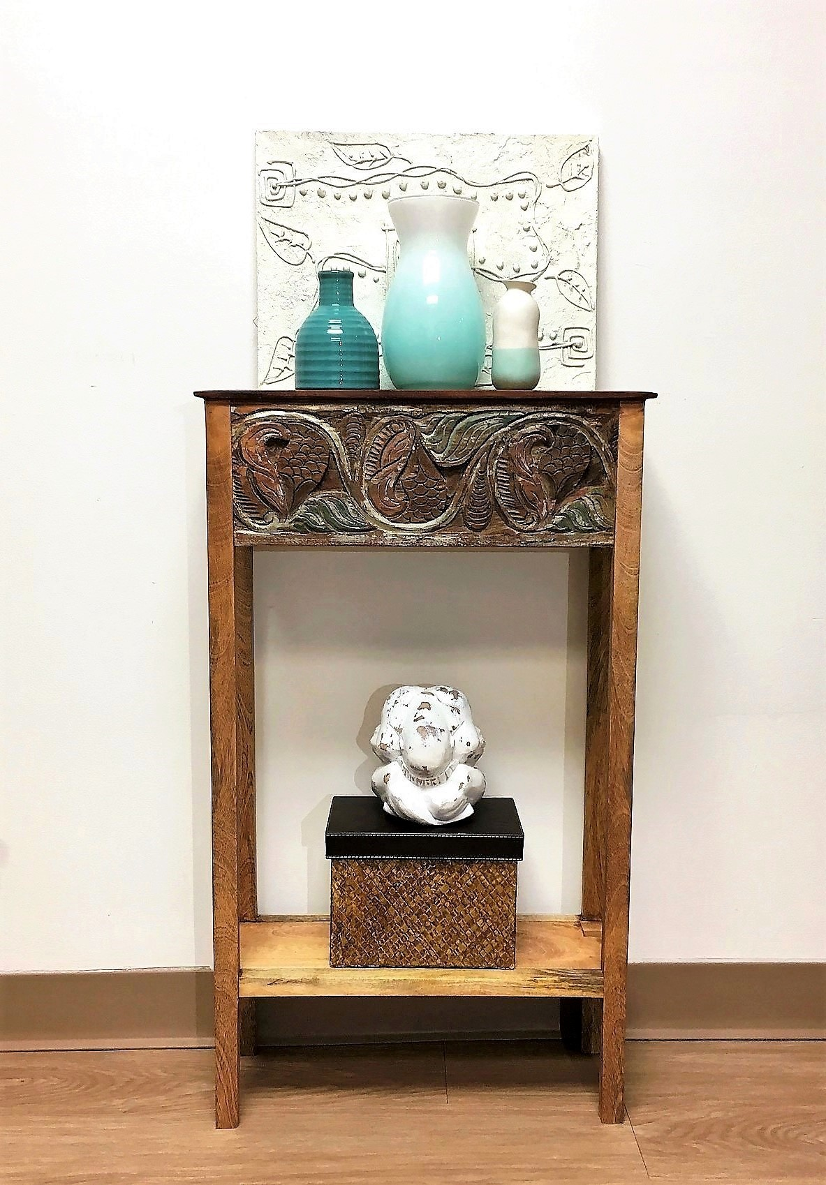 Small Reclaimed Teak Carved Console Table