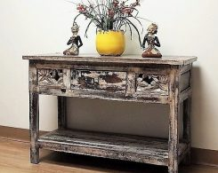 Reclaimed Wood Carved Console Table Distressed Finish