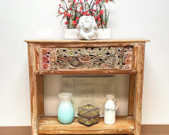 Distressed Carved Console Table