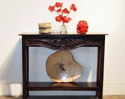 Narrow Carved Console Table with Old Teak Panel