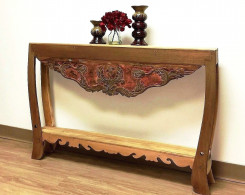 Narrow Reclaimed Wood Carved Console Table